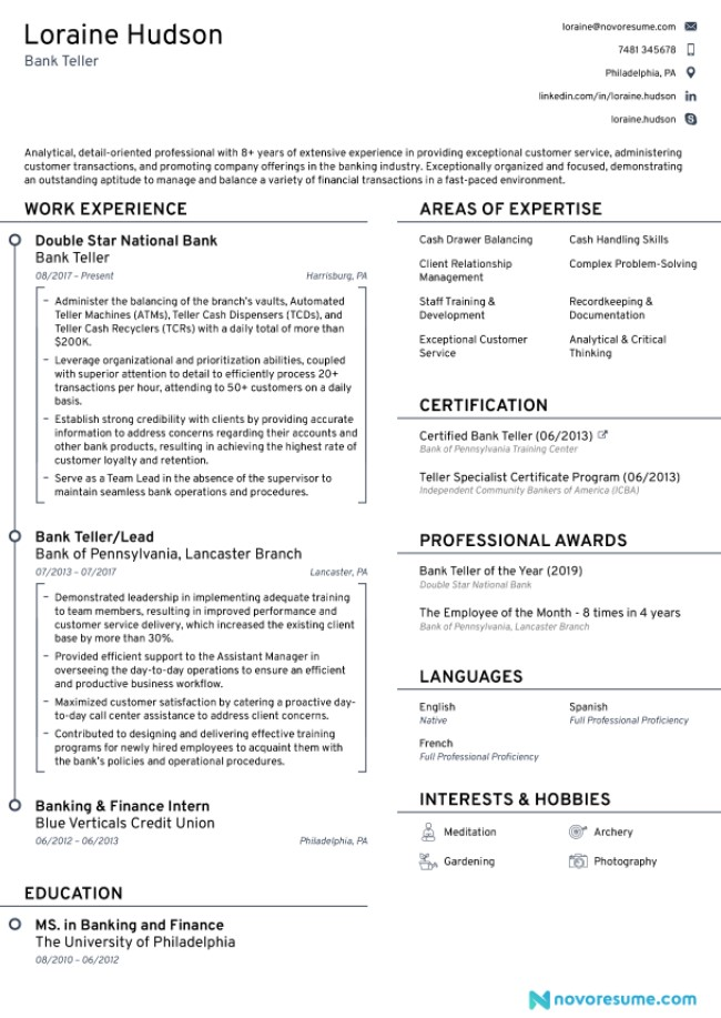 Bank Teller Resume Objective