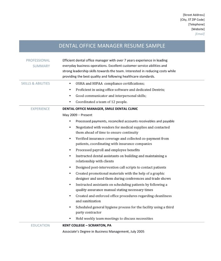 Dental Office Manager Resume Sample