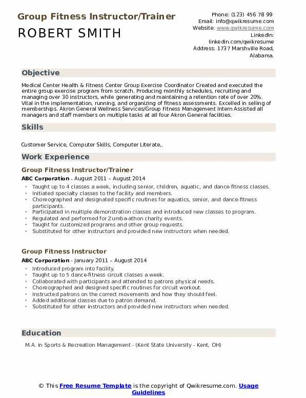 Group Fitness Instructor Resume