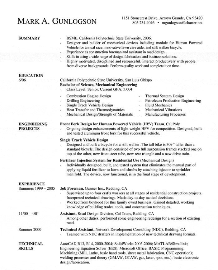 Mechanical Engineering Entry Level Resume