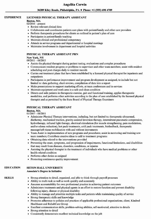 Physical Therapy Assistant Resume Examples
