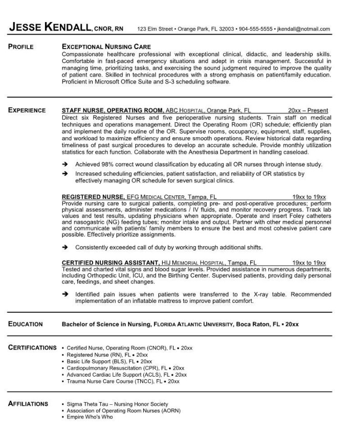 Resume Examples For Registered Nurses